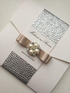 SAMPLE Pocketfold Wedding Invitation suite by StylishStationery
