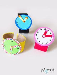 """""""Quelle heure est-il ?"""", """"C'est dans combien de temps qu'on arrive ?"""" ,""""Là ça fait deux heures, là ?"""" Vers 3-4 ans les enfants se questionnent énormément sur le temps qui passe, les heures et les minutes. Alors avant de passer à la vraie montre, Momes vous propose cette montre d'apprentissage. Amusante à réaliser et motivante, elle est idéale pour apprendre aux enfants à lire l'heure sur une montre."""