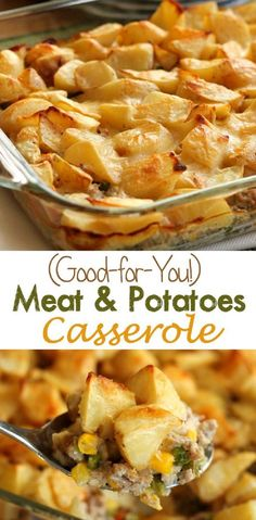 (Good-for-You) Meat and Potatoes Casserole - Ground beef or turkey is sauteed with vegetables, covered in potatoes, and smothered in a light, creamy sauce. Bake it up for a dinner your family will love! (recipes with beef stew meat dinner tonight) Potatoe Casserole Recipes, Casserole Dishes, Meat And Potatoes Recipes, Ground Beef Potato Casserole, Ground Beef And Potatoes, Casserole Ideas, Diced Potatoes, Hamburger Casserole, I Love Food