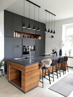 Modern Kitchen Island, Modern Kitchen Cabinets, Stylish Kitchen, Modern Kitchen Design, Interior Design Kitchen, Kitchen Islands, Home Design, Modern Design, Diy Interior