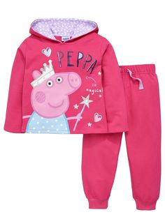 Peppa Pig Little Girls Peppa Pig Hoodie and Joggers Set (2 Piece) | very.co.uk