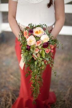 Greenery Cascade Bouquet by E Flowers