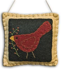 Christmas Cardinal Pillow Ornament or Pincushion. Image only. Complete item sold on Kruenpeeper Creek Gifts at http://www.kpcreek.com/Cardinal-Pillow-Ornament--P10671455C44.aspx