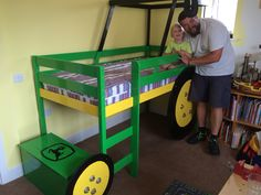 Daddy built a tractor bed! Boy Toddler Bedroom, Big Boy Bedrooms, Baby Boy Rooms, Kids Bedroom, Kids Rooms, John Deere Bedroom, Tractor Room, Tractors For Kids, Boys Room Decor