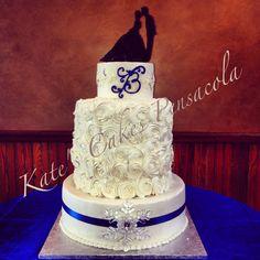 Winter Wedding Cake Rosettes Silhouette Topper Snowflake Pendant All Buttercream Kates Cakes