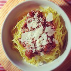 Gluten-free Linguine Bolognese - favorite pasta option is Ancient Harvest Quinoa Pasta Linguine.