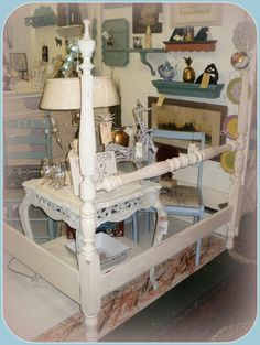 painted antique four poster bed. Old white and dark and clear waxed. Cannonball Bed, Vintage Bedroom Furniture, Four Poster Bed, Chalk Paint Furniture, Furniture Inspiration, Wow Products, Custom Paint, Entryway Tables, Bedroom Ideas