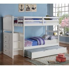 Donco Arch Mission Twin over Twin Stairway Bunk Bed - White   from hayneedle.com