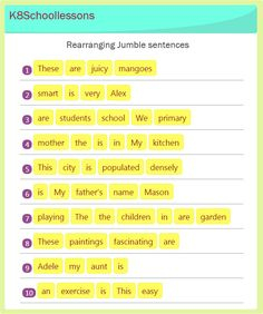 This exercise includes sentences with words in the wrong order and kids have to put them in the right order. English Grammar For Kids, Teaching English Grammar, English Lessons For Kids, Grammar Lessons, Learn English Words, Writing Lessons, French Lessons, Spanish Lessons, Teaching Spanish