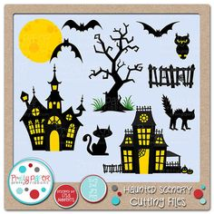These haunted houses and spooky silhouettes will add a frightfully delightful touch to your Halloween decorations, scrapbook layouts, greeting cards, and more!  Set Includes: 3 Bats, 2 Cats, Full Moon, Gnarly Tree, 2 Haunted Houses, Owl Silhouette, Spooky Fence  You will receive 11 digital files in four formats: .SVG, .DXF., .PNG, & .JPG You must have a program that opens these file formats to use the files. SVGs and DXF files can be opened by several programs and cut by several cutters…