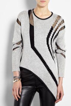 e0d39666caf539 Textured Intarsia Diagonal Stripe Jumper by Helmut Lang Helmut Lang, Hand  Knitting, Knitting Patterns