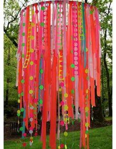 Hang ribbon from hula hoops