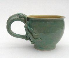 Mug- Sea Green Squid Octopus Jumbo Cappuccino- Stoneware- (was 53). $49.00, via Etsy.
