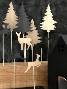 DIY: Winterlandschaft basteln aus Papier und Holz - Chalet8 Diy Upcycling, Xmas, Christmas, Twinkle Twinkle, Projects To Try, Crafty, Paper, Wood, Home Decor
