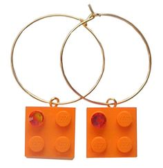 Orange LEGO R brick 2x2 with an Orange by MademoiselleAlma #MademoiselleAlma #LEGO #ETSY