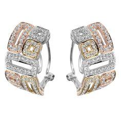 Majesty Diamonds - 1 1/10 CTW Diamond Fashion Hoop Earrings in 14k Tri Color Gold #earrings #fashion #style