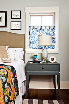 like the headboard and painted nightstand
