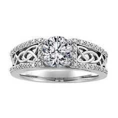 Engagement Ring -Celtic Knot Diamond Engagement Ring Pave Diamonds band in 14K White Gold-ES818BR