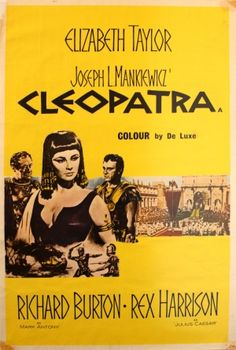Cleopatra, 1963 - original vintage movie poster for one of the classic films directed by Joseph L Mankiewicz, starring Elizabeth Taylor (Cleopatra), Richard Burton (Mark Antony) and Rex Harrison (Julius Caesar), listed on AntikBar.co.uk