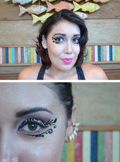 Maquiagem artística Delineado de Arabescos com Maquiagem Adesiva