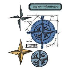 "Sizzix- ""Compass Blueprint"" Hybrid Stamp & Die Framelits 659883"