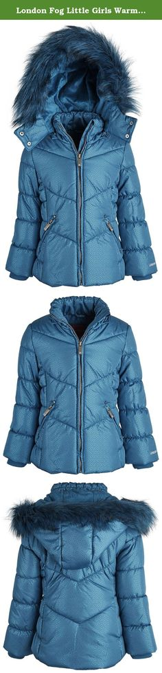 London Fog Little Girls Warm Winter Puffer Jacket with Silky Fleece Lined Hood - Teal (Size 5/6). Quilts of down alternative, silky fleece, and decorative faux fur is what comprises this super trendy jacket. A stand-up collar and inside knit hand cuffs add warm finishing touches. Fully lined. Available in sizes 4 to 16. (For sizes in other ranges, as in Baby/Little/Big Girls, please look for item in designated department, and filter Best B Clothing as seller.).