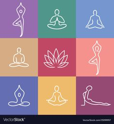 Vector yoga icons and round line badges - graphic design elements in outline sty. Vector yoga icons and round line badges – graphic design elements in outline style or logo templa Illustration Ligne, Free Vector Images, Vector Free, Kundalini Yoga Poses, Yoga Drawing, Waves Icon, Yoga Symbols, Yoga Handstand, Yoga Logo