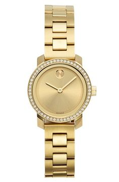Free shipping and returns on Movado 'Bold' Diamond Bezel Bracelet Watch, 25mm at Nordstrom.com. Pure elegance defines a minimalist bracelet watch with a round, polished dial framed in radiant, glistening diamonds. An intricate Swiss quartz movement powers two-hand time, displayed below the iconic museum dot.