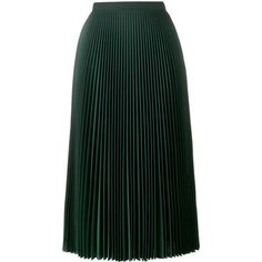 Prada pleated midi skirt (5.095 RON) ❤ liked on Polyvore featuring skirts, green, high-waisted midi skirts, green high waisted skirt, high-waist skirt, calf length skirts and knee length pleated skirt