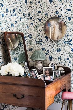 Dianthus Chintz Wallpaper, Pineapple Lamp and Aten Light