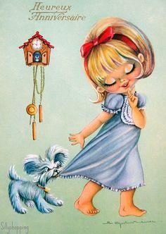 Vintage Big Eyed Girl Embroidered Postcard - Google Search