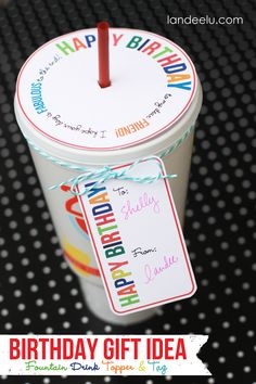 birthday gift idea printable birthday gift idea drink topper and tag