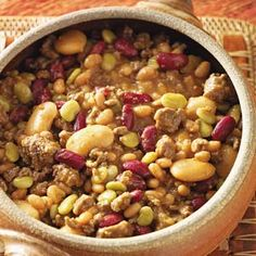 Cowboy Calico Beans - I use northern beans instead of limas.  I also add 1/2 lb of crumbled cooked bacon, and I reserve some liquid from the beans to add back in with the sauce, so the beans don't dry out.  I also add cracked black pepper....to everything!  LOL
