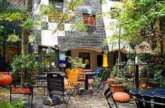 Hundertwasser House, garden, Vienna
