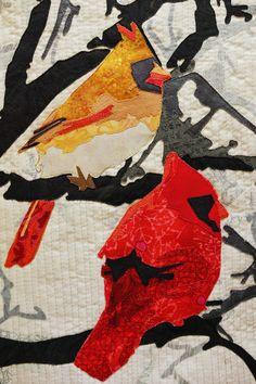 Wild Life: Cardinals   Martha Wolfe art quilt