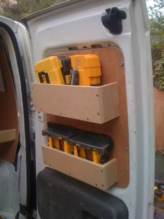50 Incredible and Easy Tips RV and Camper Van Storage Ideas Van Storage, Truck Storage, Storage Shelves, Van Interior, Truck Interior, Interior Ideas, Van Organisation, Van Shelving, Shelving Ideas