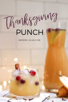 Thanksgiving Punch - Non-Alcoholic Spicy Pear Punch - Modern Glam - - A non-alcoholic recipe for Spicy Pear Punch. Thanksgiving Drinks Non Alcoholic, Alcoholic Punch Recipes, Sangria Recipes, Drinks Alcohol Recipes, Holiday Drinks, Non Alcoholic Drinks, Yummy Drinks, Beverages, Drink Recipes