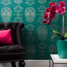 Day of the Dead Sugar Skull Wallpaper - Emerald & Gold   Street Anatomy Gallery Store