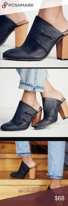 New Free People Mules Black Leather Clogs 9 Distressed black leather slip on mules with cool contrast 4.5inch heel in tan. Nice washed leather. So cute with cutoff, jeans or a flowey dress. Brand new - perfect condition! No box. Free People Shoes Mules & Clogs