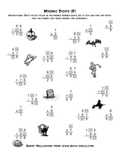 math worksheet : halloween math worksheet  addition facts to 18  halloween  : Halloween Math Printable Worksheets