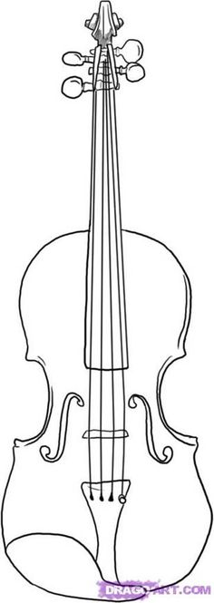 learn to draw - violin Step 5 Violin Drawing, Violin Tattoo, Violin Art, Violin Painting, Rock Painting, Coloring Books, Coloring Pages, Adult Coloring, Violin Lessons