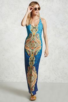 A maxi dress featuring an allover damask print in the back ground and a colorful damask print on the front and back in the foreground, a scoop neckline, and a contrast caged back.<p>- This is an independent brand and not a Forever 21 branded item.</p>