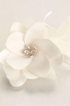 Small Satin Flower Pearl Spray - Ivory