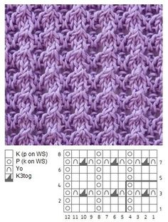 Easy Yarn Over and lace - Knitting Kingdom Lace Knitting Patterns, Knitting Stiches, Knitting Charts, Knitting Designs, Free Knitting, Baby Knitting, Stitch Patterns, Knitting Tutorials, Shawl Patterns
