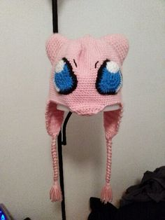 Mew Pokemon hat. Crocheted for my boyfriend. He absolutely loved it!