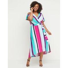 6b165fe59b4d Lane Bryant Women's Faux-Wrap Maxi Fit & Flare Dress 18/20 Black Green And  White Stripe