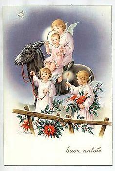 Signed ZANDRINO Angels on Donkey with Child Jesus christmas Vintage PC Circa 1950 A