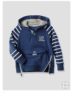 Parents will love the vibrant look of this and kids will love the clever touches like the hidden pocket! Reflective piping on the hood Press-stud ne Little Boy Fashion, Baby Girl Fashion, Kids Fashion, Toddler Outfits, Boy Outfits, Baby Kind, Kids Wear, Sport, Sweatshirts