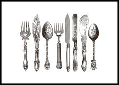 Stylish black and white poster of cutlery in vintage style. The original is a hand-drawn illustration from the 1800s. This poster looks great hanging in the kitchen, especially in a black wooden frame. www.desenio.com