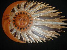 Sun Moon Sunburst Celestial Decor Mosaic Hand Carved Wall Art Bali Red ...
